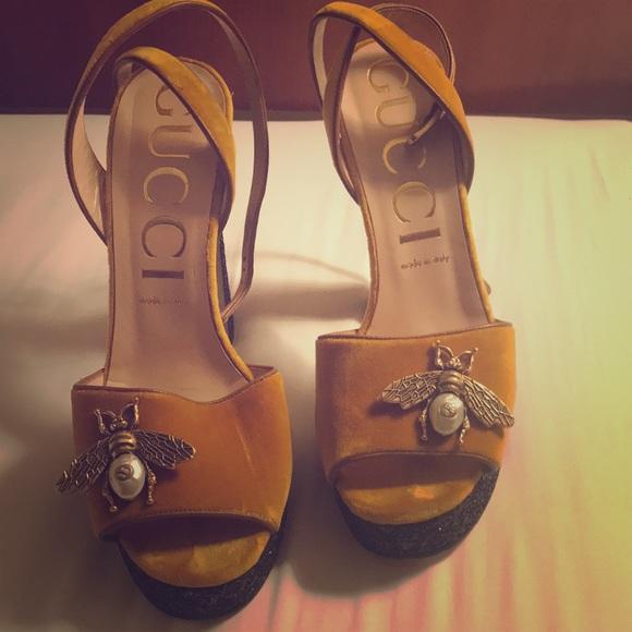 f8bbff31a Gucci Shoes | Blue Embellished Glitter Platform Sandals | Poshmark